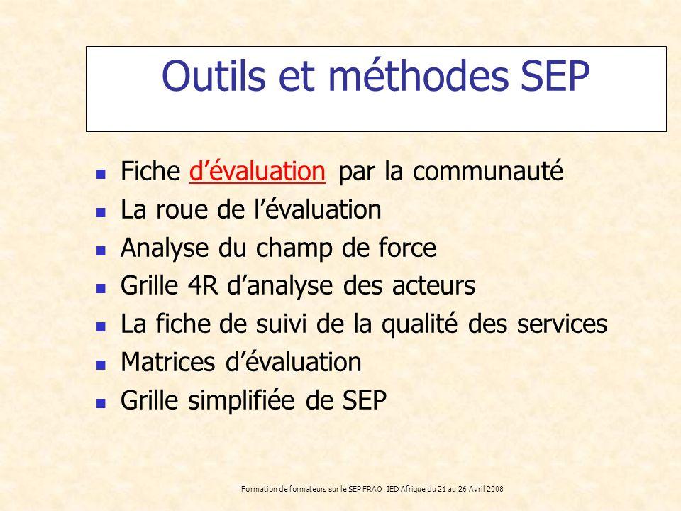 Outils et méthodes SEP Fiche d'évaluation par la communauté