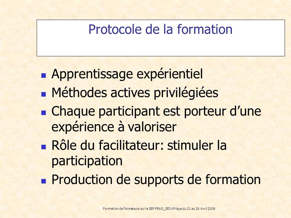 Protocole de la formation