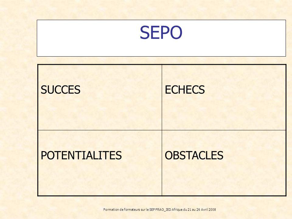 SEPO SUCCES ECHECS POTENTIALITES OBSTACLES