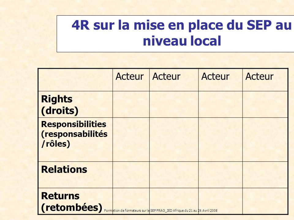 4R sur la mise en place du SEP au niveau local