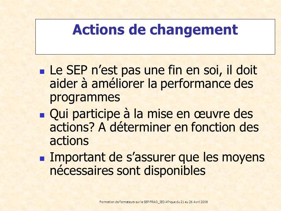 Actions de changement Le SEP n'est pas une fin en soi, il doit aider à améliorer la performance des programmes.