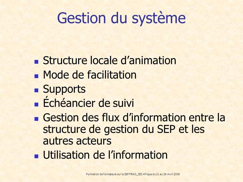 Gestion du système Structure locale d'animation Mode de facilitation