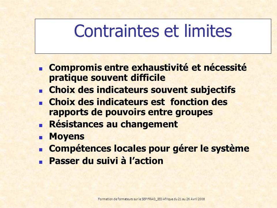 Contraintes et limites