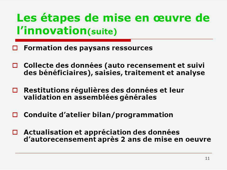 Les étapes de mise en œuvre de l'innovation(suite)