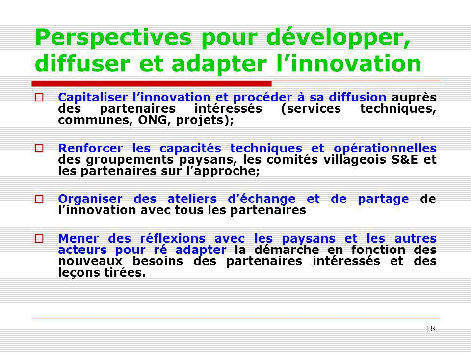 Perspectives pour développer, diffuser et adapter l'innovation