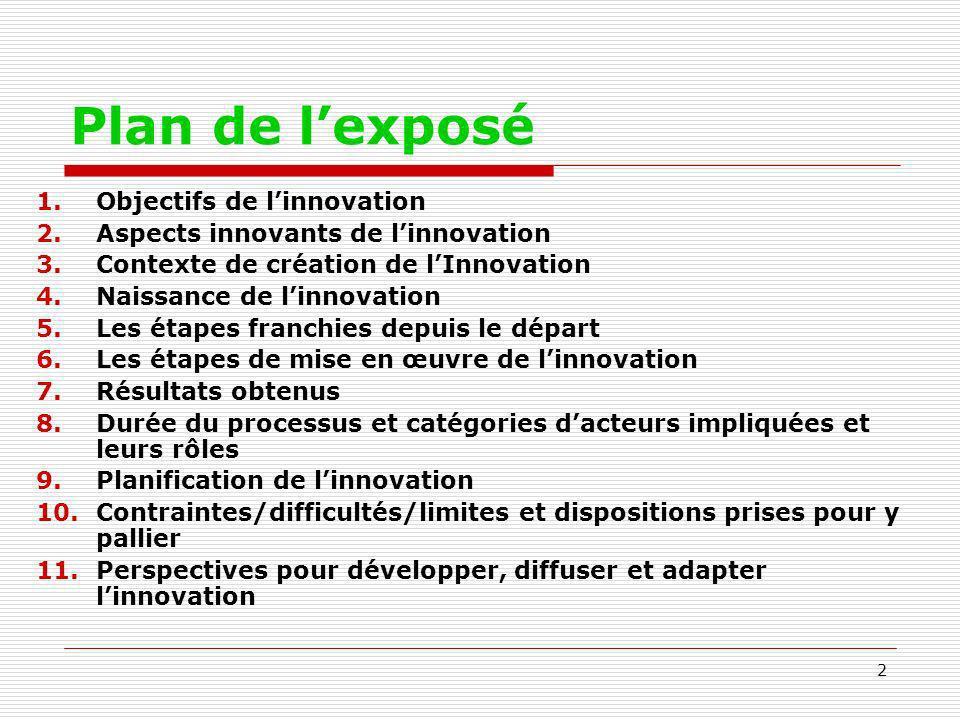 Plan de l'exposé Objectifs de l'innovation