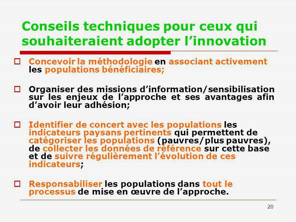 Conseils techniques pour ceux qui souhaiteraient adopter l'innovation