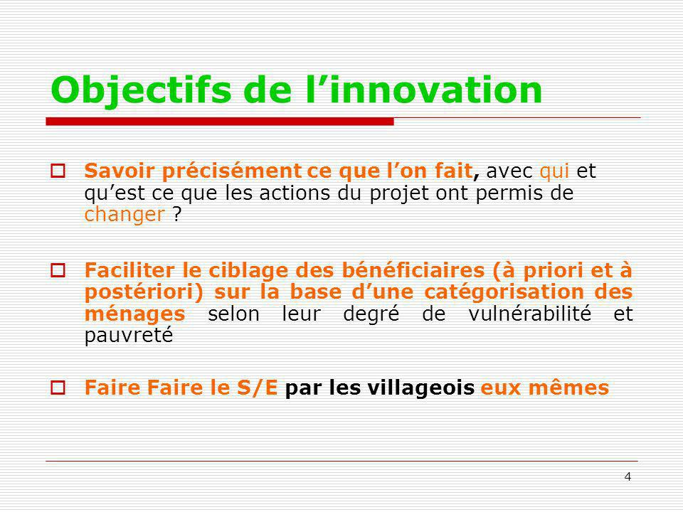 Objectifs de l'innovation