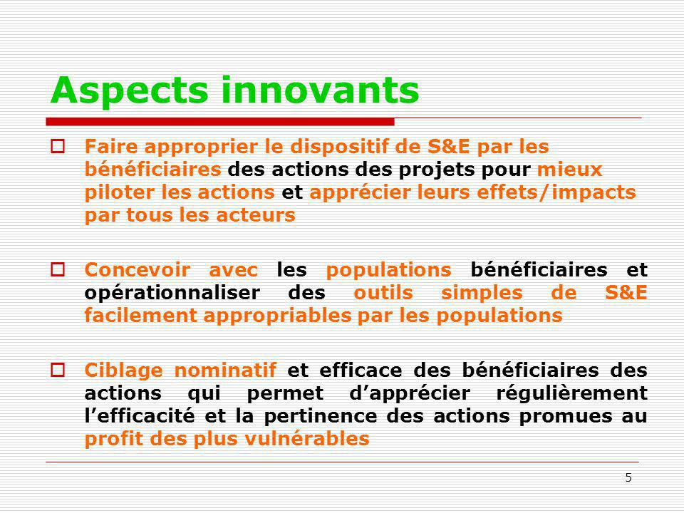 Aspects innovants
