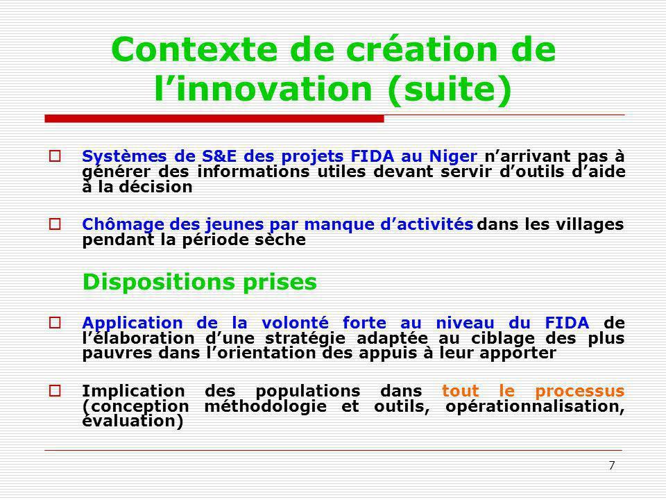 Contexte de création de l'innovation (suite)