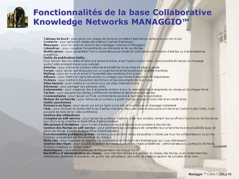 Fonctionnalités de la base Collaborative Knowledge Networks MANAGGIO™