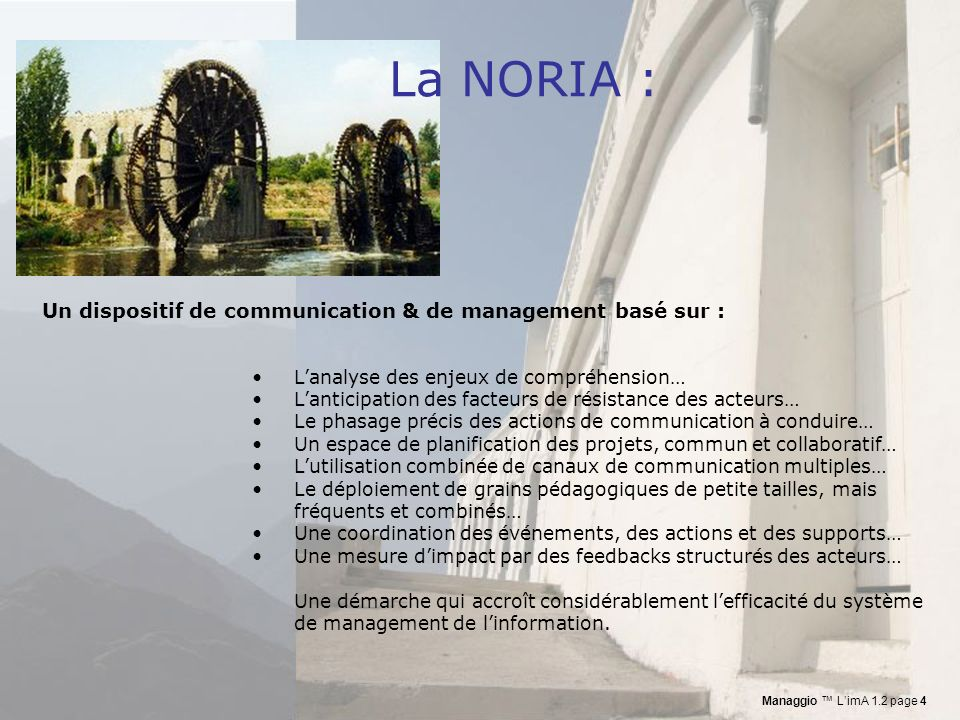 La NORIA : Un dispositif de communication & de management basé sur :