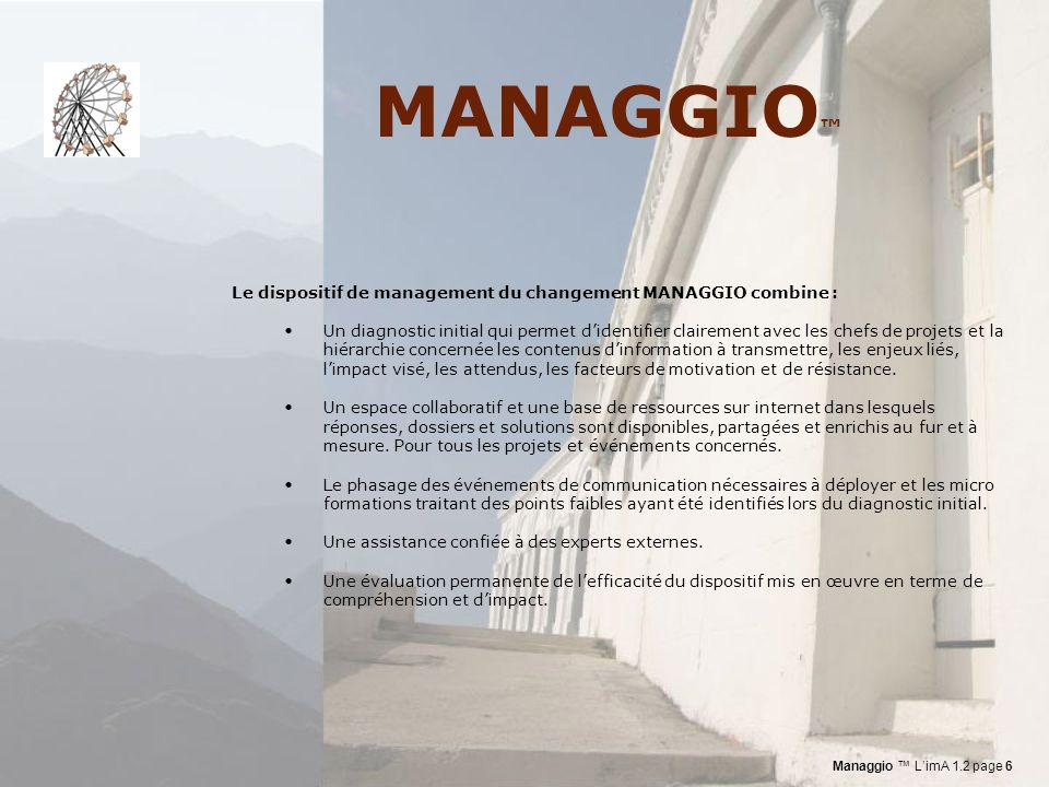 MANAGGIO™ Le dispositif de management du changement MANAGGIO combine :