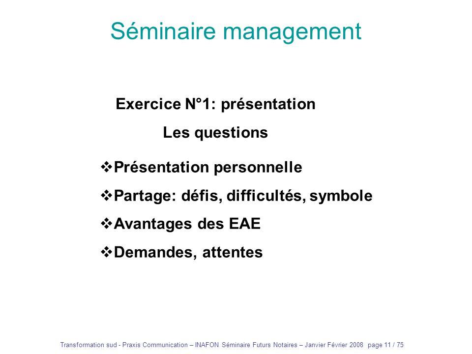 Exercice N°1: présentation
