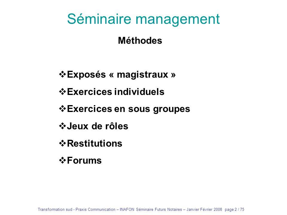 Séminaire management Méthodes Exposés « magistraux »