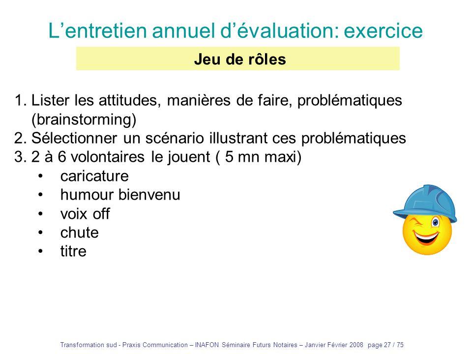 L'entretien annuel d'évaluation: exercice
