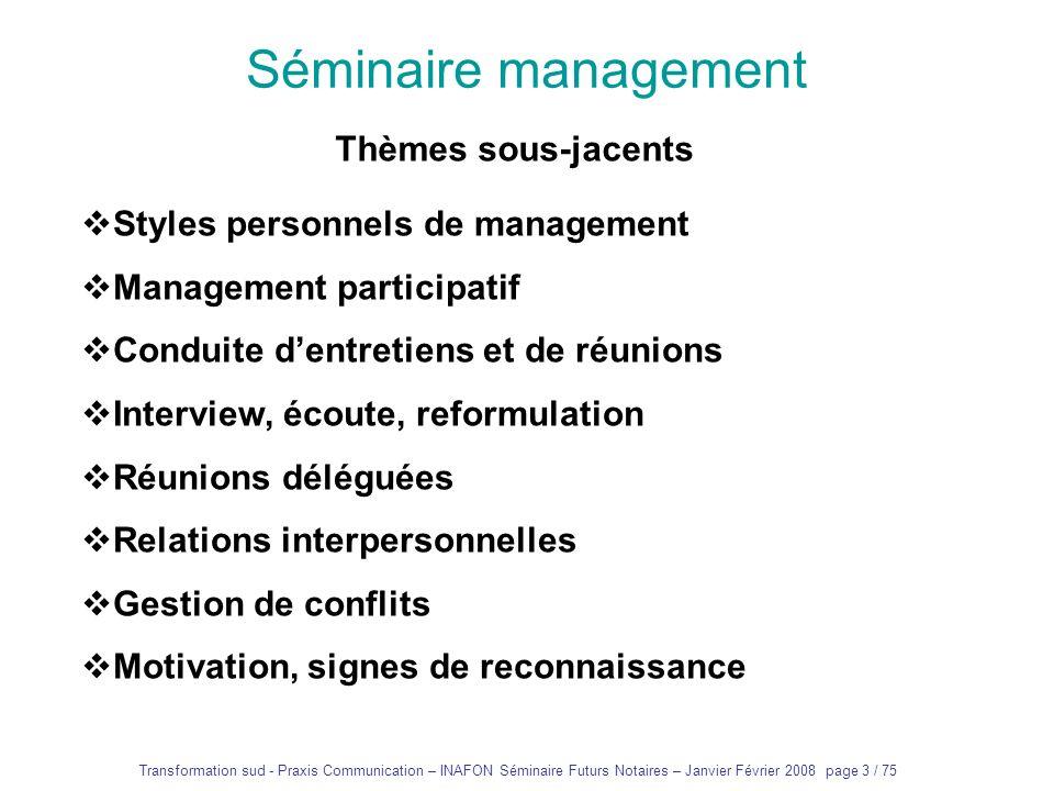 Séminaire management Thèmes sous-jacents