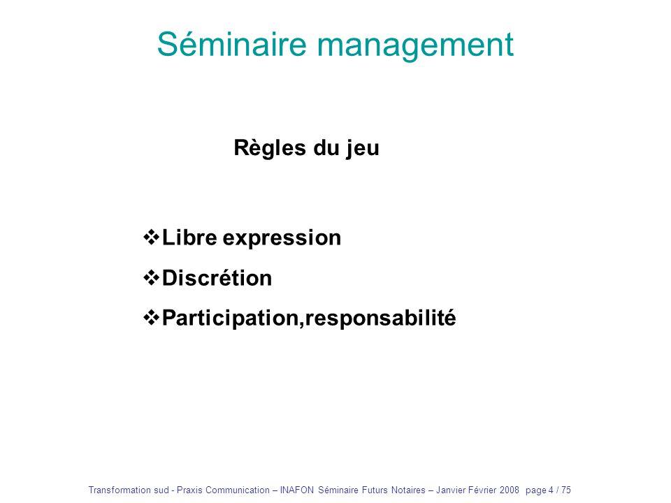 Séminaire management Règles du jeu Libre expression Discrétion