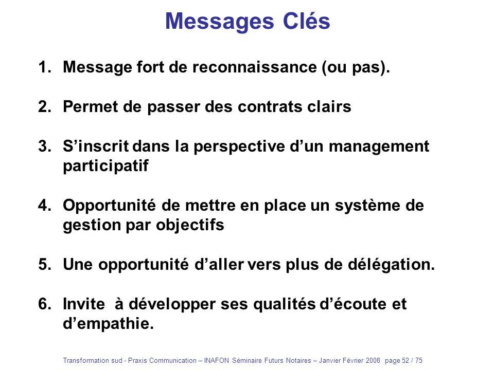 Messages Clés Message fort de reconnaissance (ou pas).