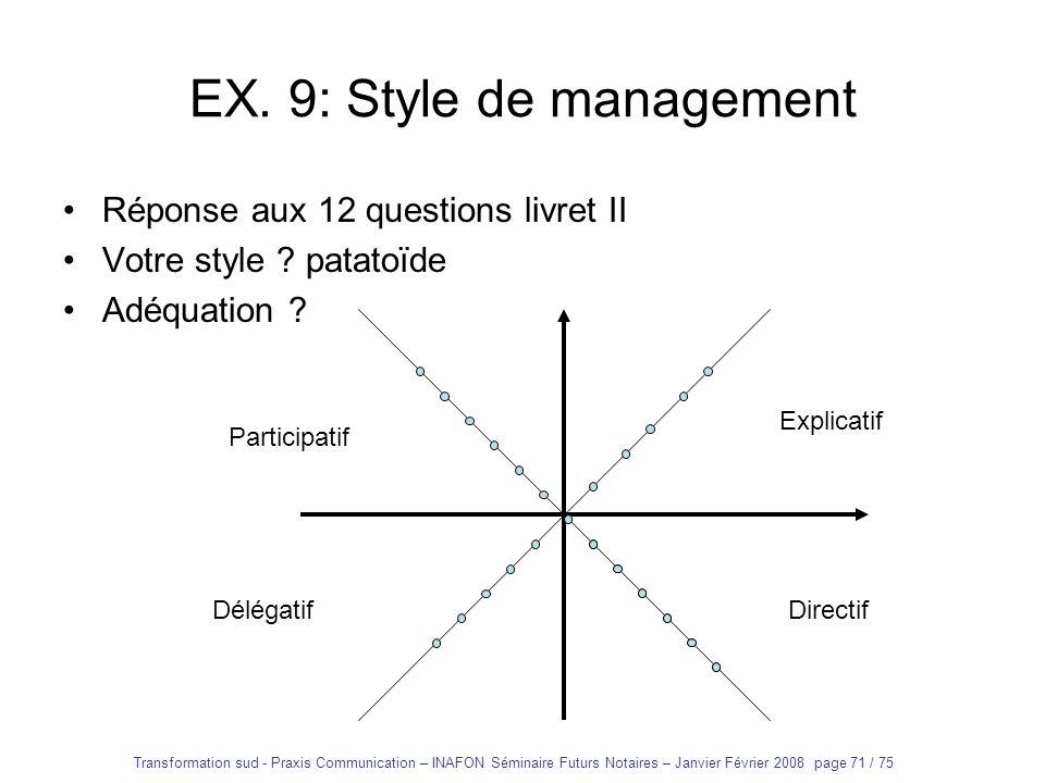 EX. 9: Style de management