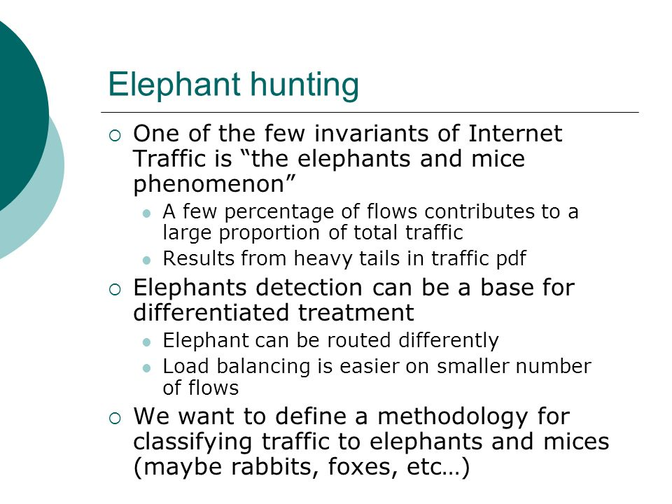 Elephant huntingOne of the few invariants of Internet Traffic is the elephants and mice phenomenon