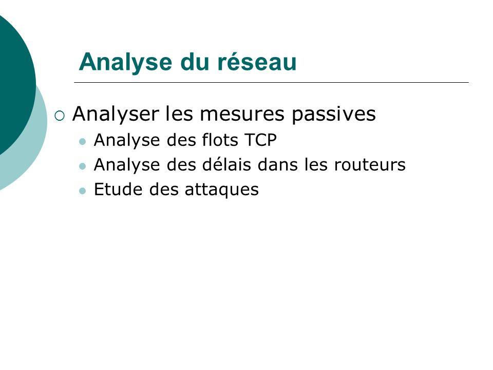 Analyse du réseau Analyser les mesures passives Analyse des flots TCP