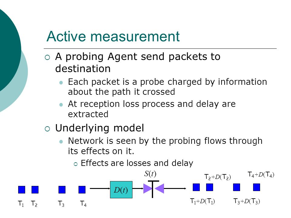 Active measurement A probing Agent send packets to destination