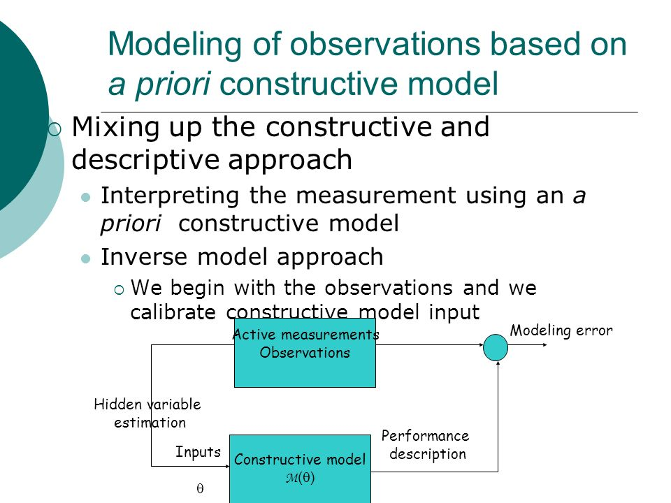 Modeling of observations based on a priori constructive model