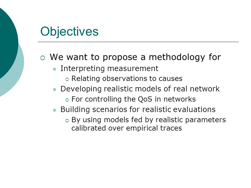 Objectives We want to propose a methodology for