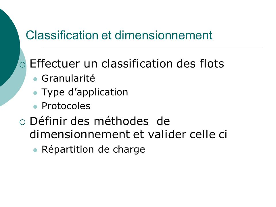 Classification et dimensionnement