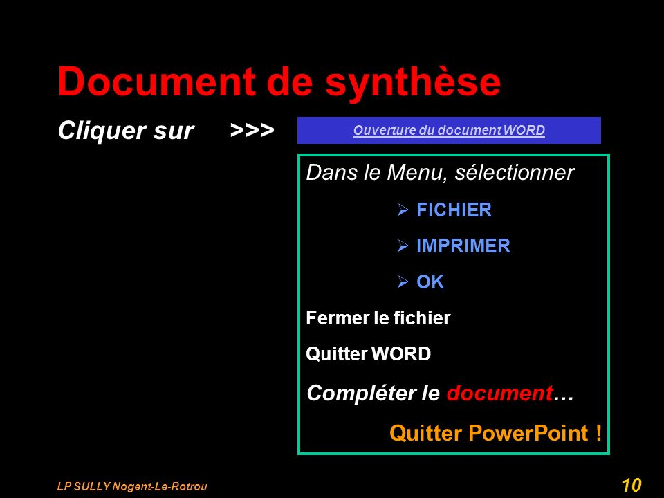 Ouverture du document WORD