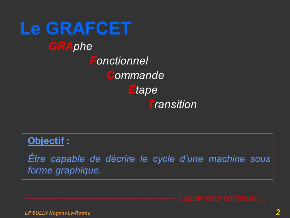 Le GRAFCET GRAphe Fonctionnel Commande Étape Transition Objectif :