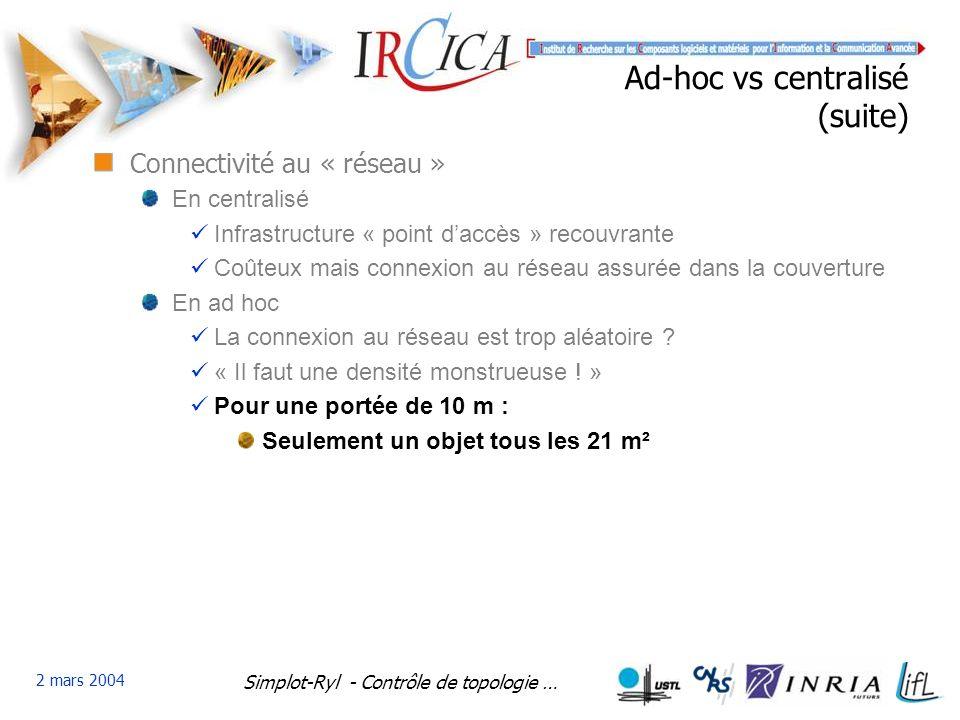 Ad-hoc vs centralisé (suite)