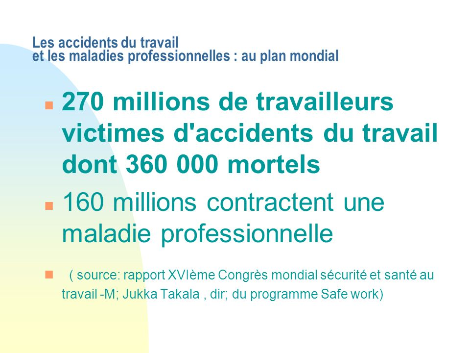 160 millions contractent une maladie professionnelle