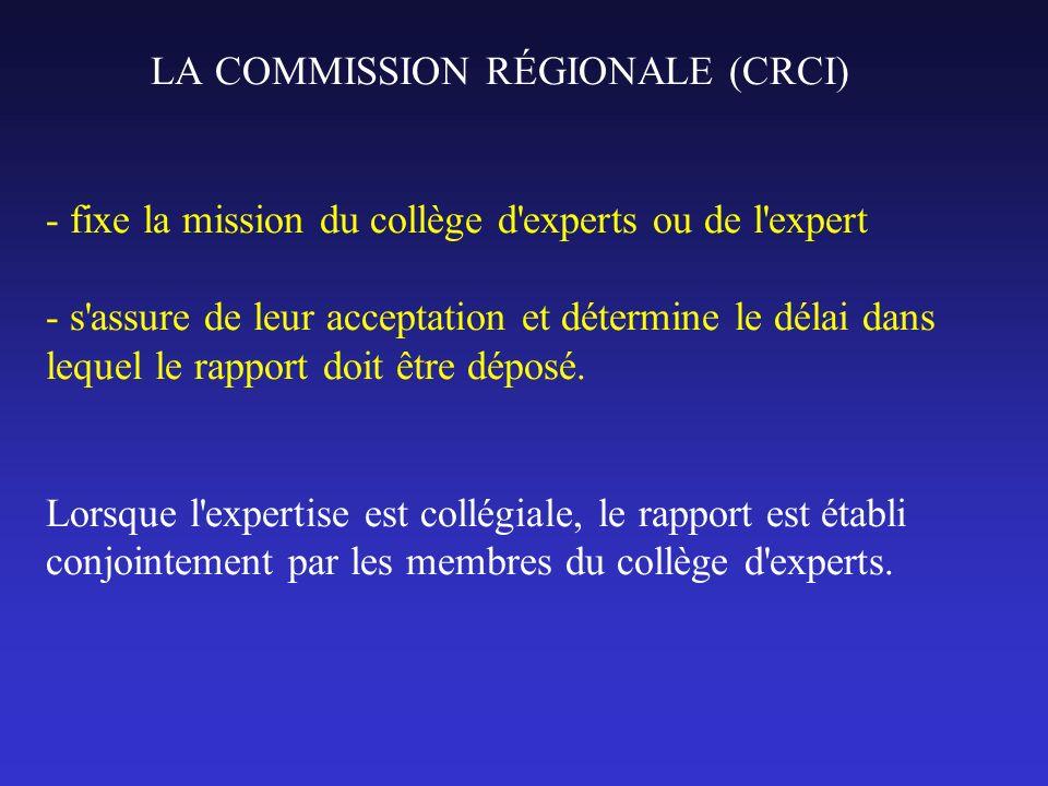 LA COMMISSION RÉGIONALE (CRCI) - fixe la mission du collège d experts ou de l expert - s assure de leur acceptation et détermine le délai dans lequel le rapport doit être déposé.