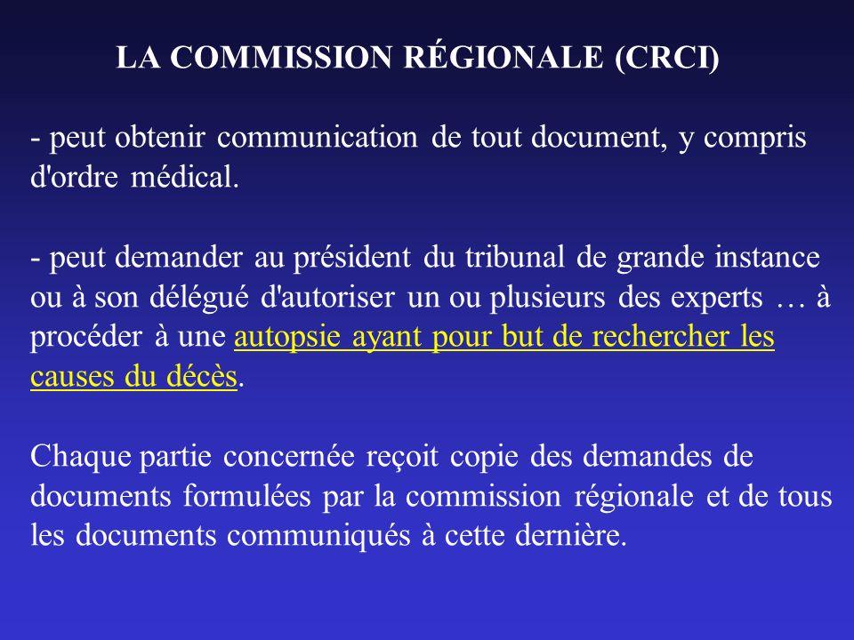 LA COMMISSION RÉGIONALE (CRCI) - peut obtenir communication de tout document, y compris d ordre médical.