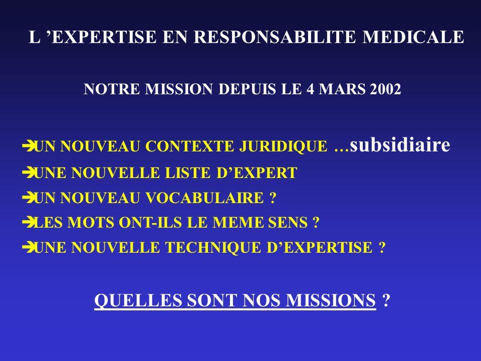 L 'EXPERTISE EN RESPONSABILITE MEDICALE