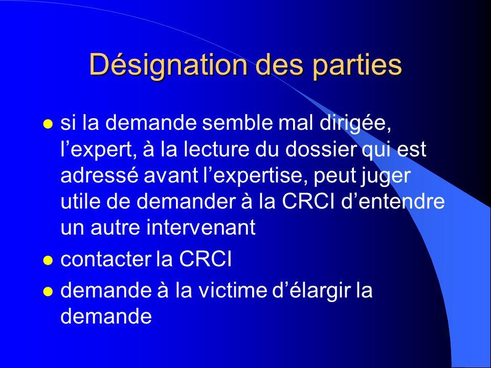 Désignation des parties