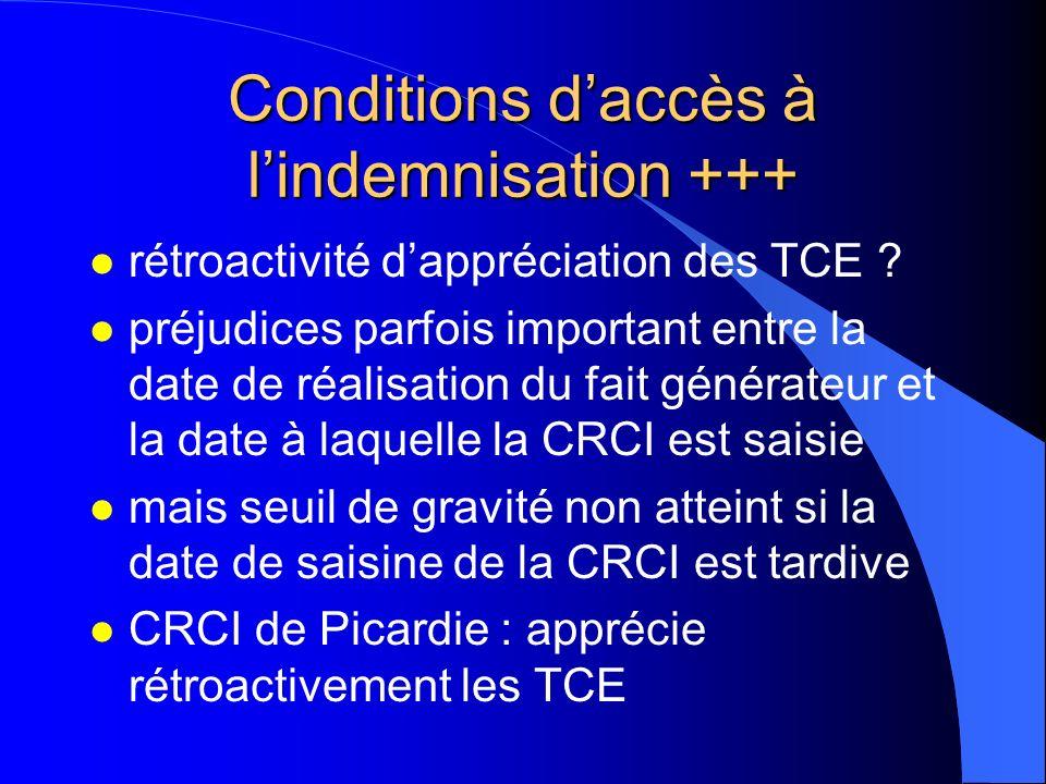 Conditions d'accès à l'indemnisation +++