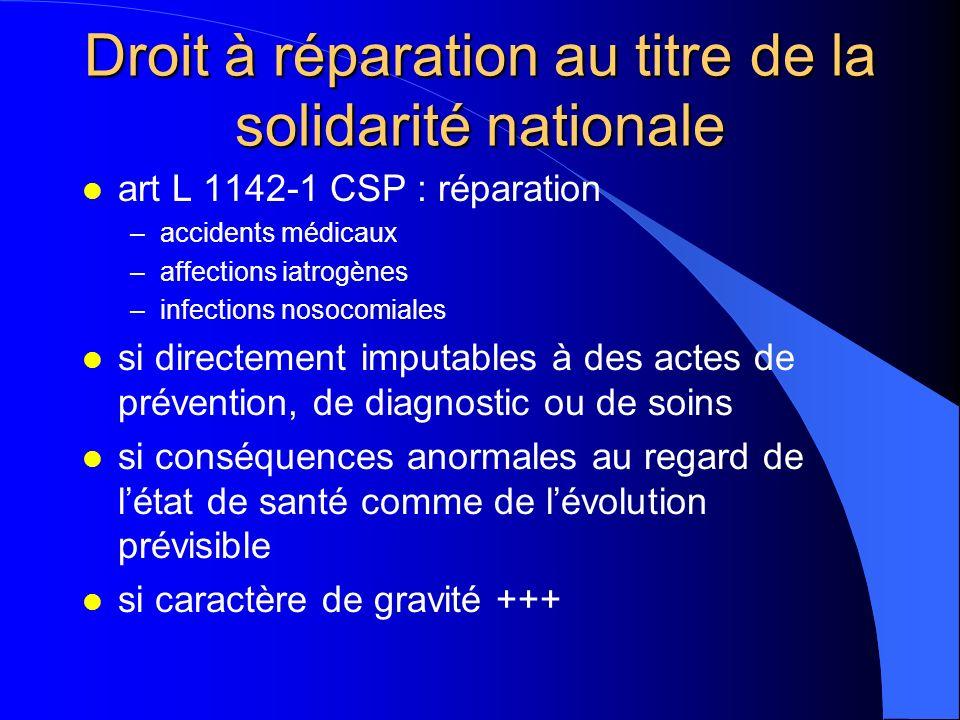 Droit à réparation au titre de la solidarité nationale