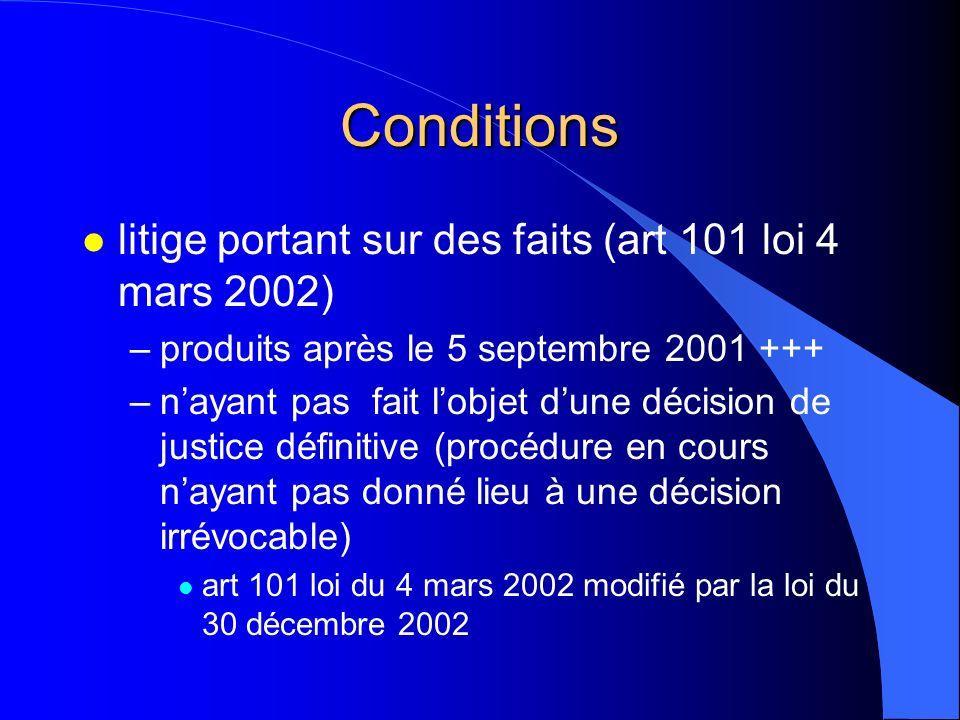 Conditions litige portant sur des faits (art 101 loi 4 mars 2002)