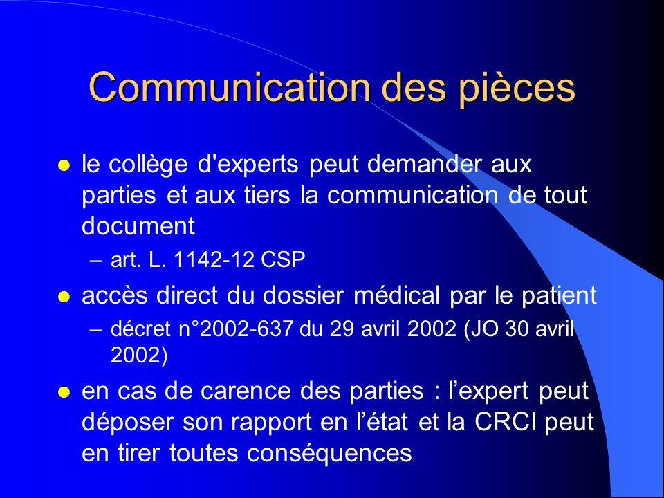 Communication des pièces