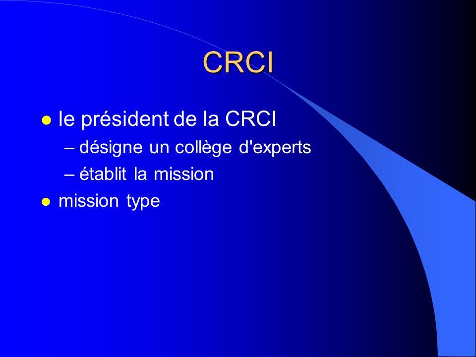 CRCI le président de la CRCI désigne un collège d experts