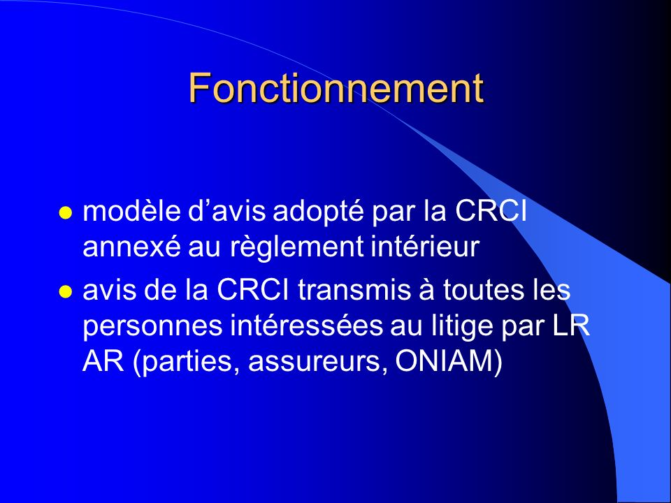 Fonctionnement modèle d'avis adopté par la CRCI annexé au règlement intérieur.