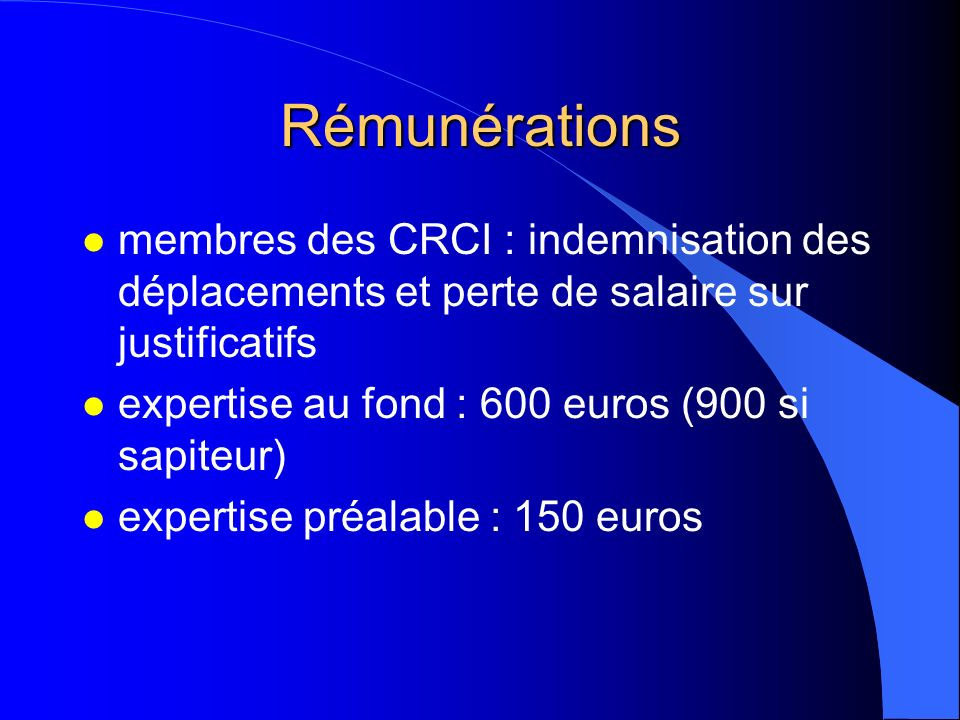 Rémunérations membres des CRCI : indemnisation des déplacements et perte de salaire sur justificatifs.