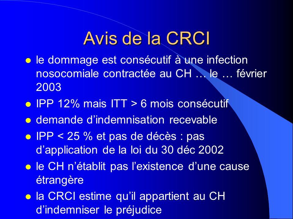 Avis de la CRCI le dommage est consécutif à une infection nosocomiale contractée au CH … le … février 2003.