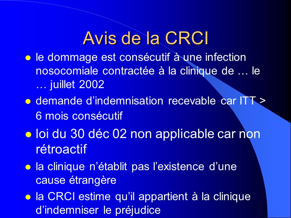 Avis de la CRCI loi du 30 déc 02 non applicable car non rétroactif