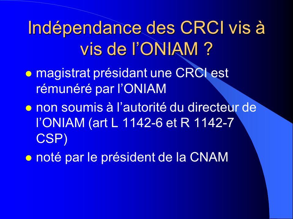 Indépendance des CRCI vis à vis de l'ONIAM