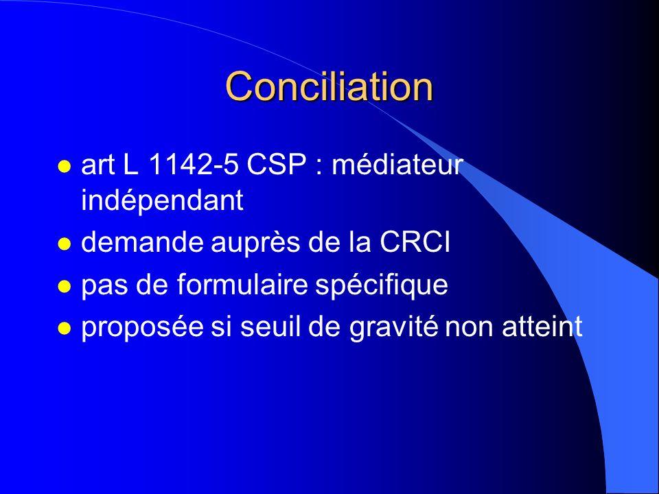 Conciliation art L 1142-5 CSP : médiateur indépendant