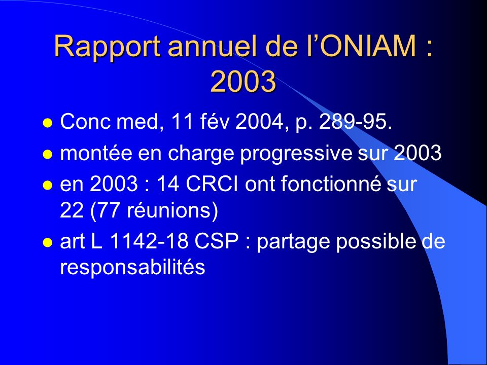 Rapport annuel de l'ONIAM : 2003